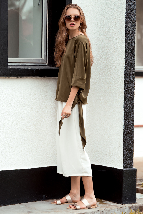 Chariss Side Knot Top in Olive