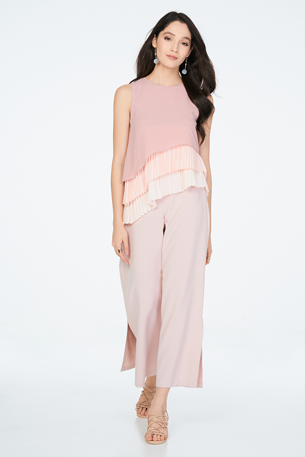 Darine Slit Pants in Light Pink