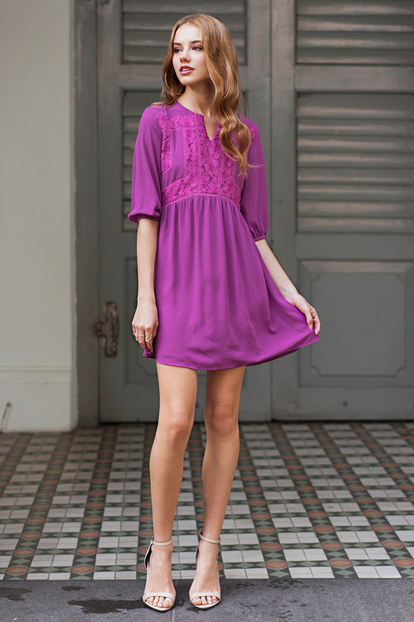 Adela Babydoll Dress in Magenta