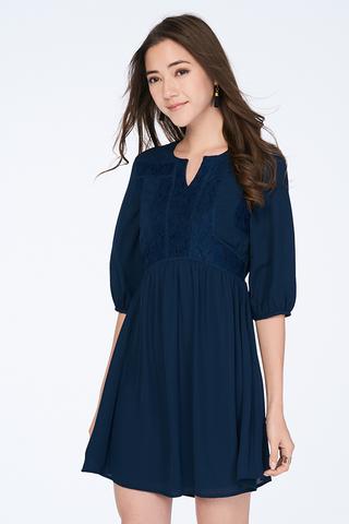 *Restock* Adela Babydoll Dress in Navy