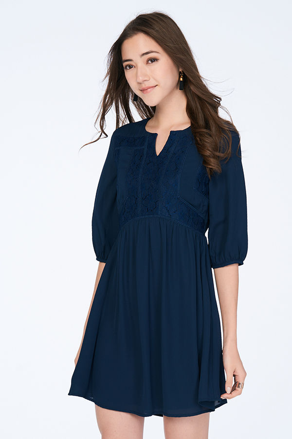 *Restock* Adela Babydoll Dress in Navy