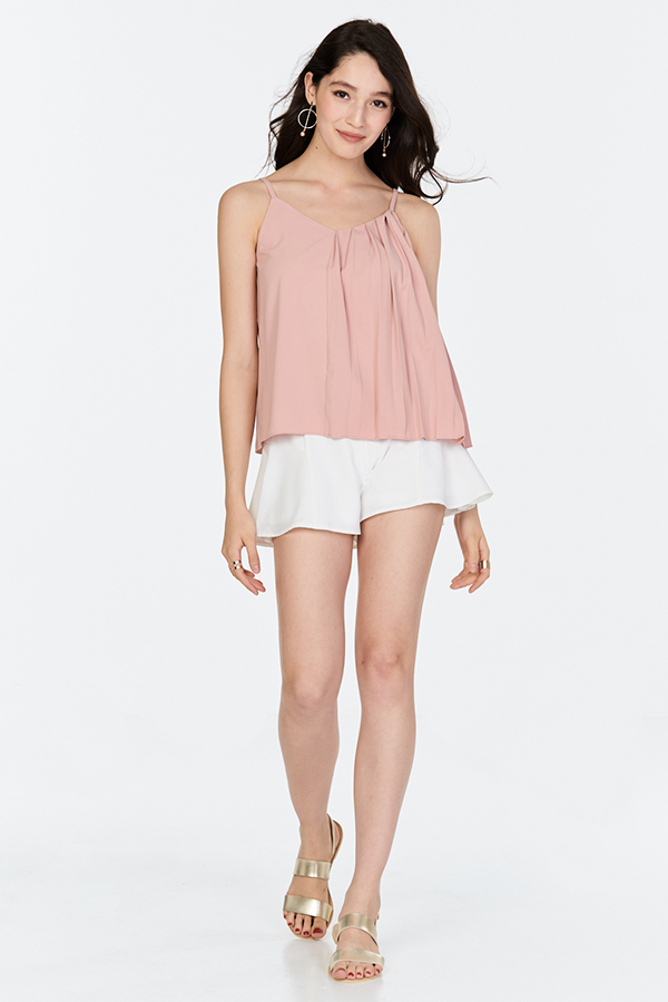 Reina Pleated Top in Nude Pink