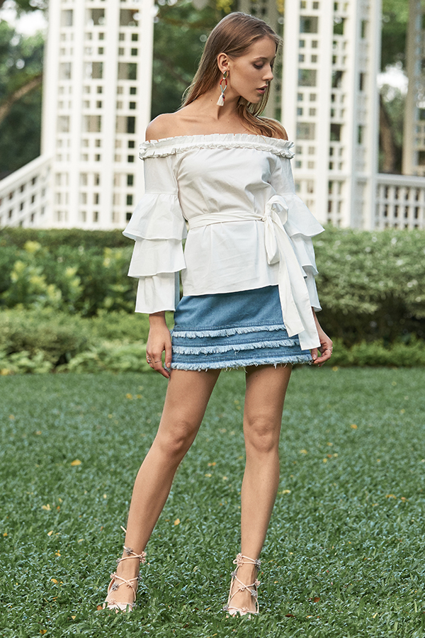 Kendall Ruffled Blouse in White