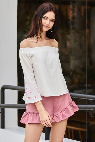 Verra Ruffles Shorts in Rose Pink