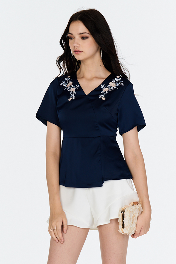 *Restock* Alden Embroidered Blouse in Navy