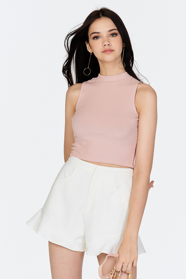 Eveline Ribbed Tee in Light Pink