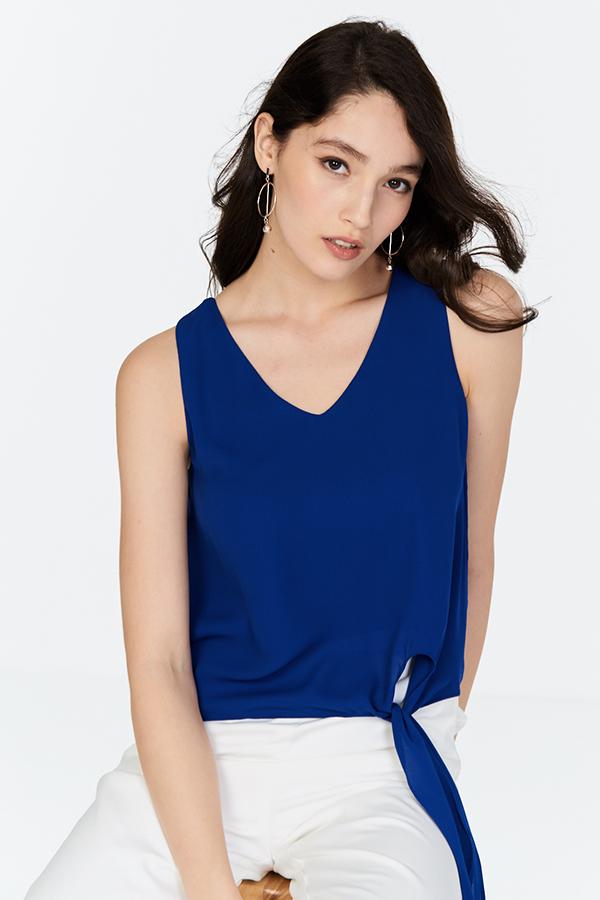 Arethea Chiffon Top in Cobalt