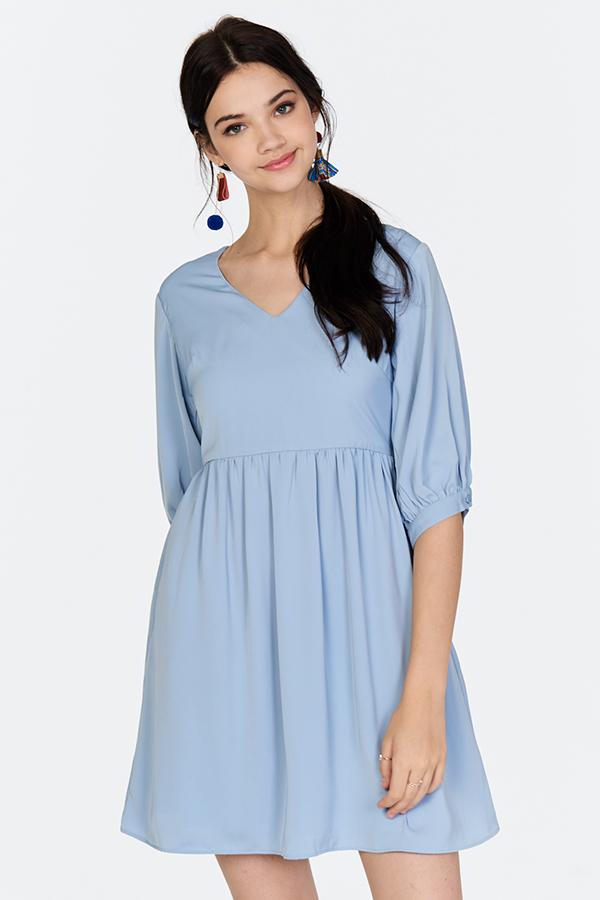 Liyla Babydoll Dress in Light Blue