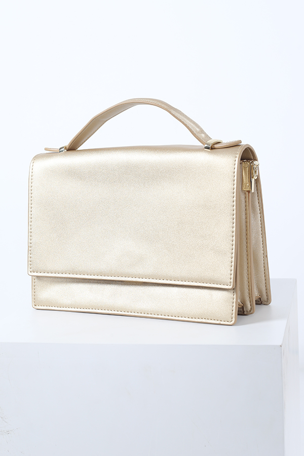Janel Satchel Bag in Gold