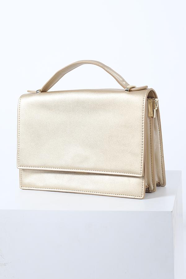 Janel Satchel Bag in Gold