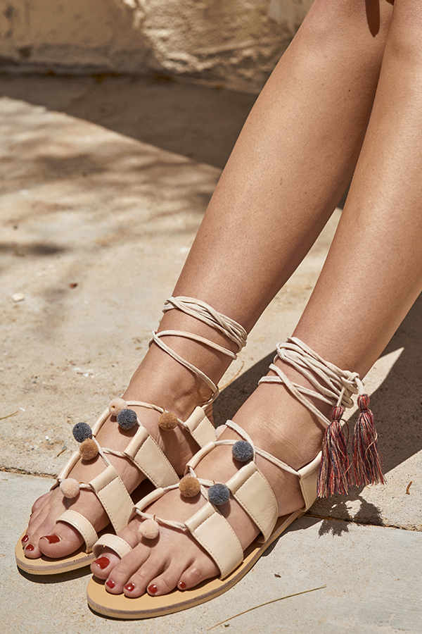 Fern Pom Pom Sandals in Cream