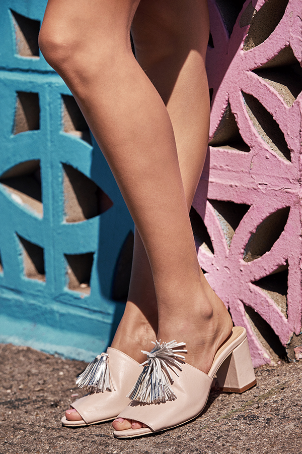 Lanory Tassels Mules in Light Pink