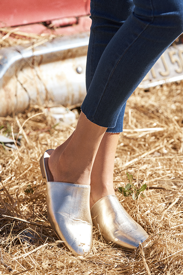 Kairi Flat Mules in Gold