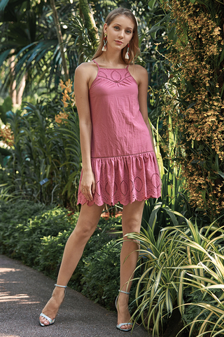 Adella Eyelet Dress in Rose Pink