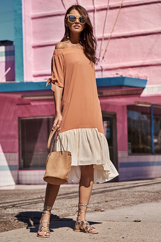 Audree Colourblock Midi Dress in Apricot/Cream
