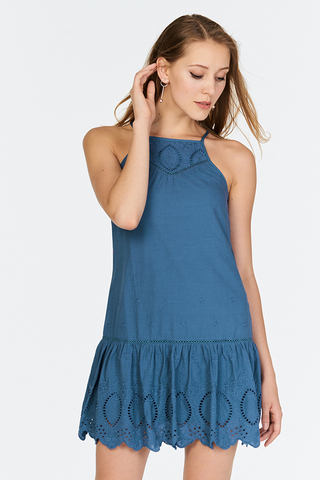 Adella Eyelet Dress in Blue