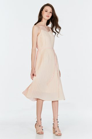 Blonda Two Way Midi Dress in Light Pink/Cream