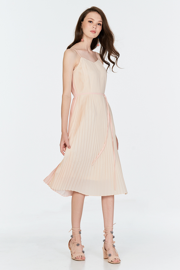Blonda Two Way Midi Dress in Light Pink/Cream