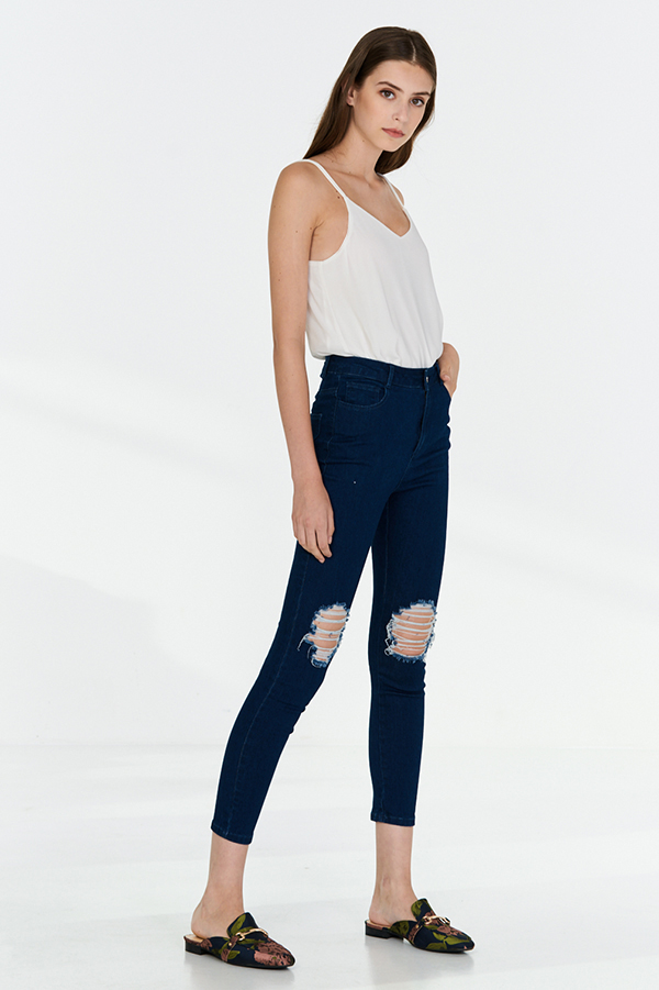 Havana Ripped Jeans in Dark Denim