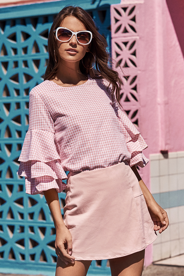 *Restock* Lauren Gingham Top in Pink