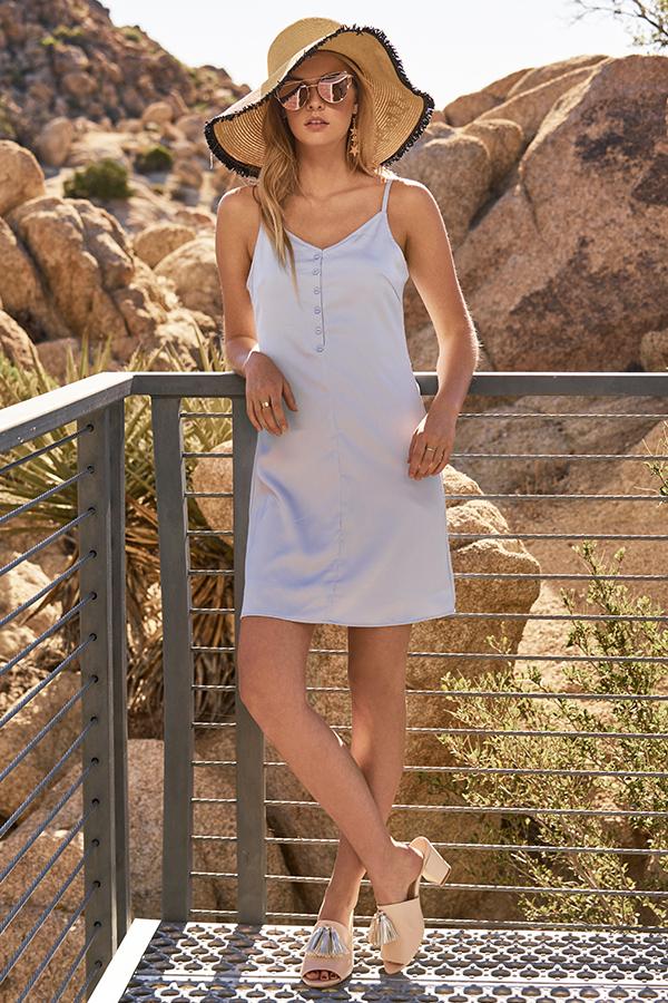 Elise Slip Dress in Cashmere Blue