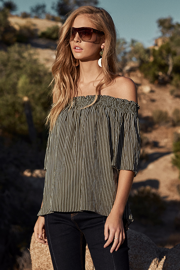 Kaiden Stripes Off-Shoulder Top in Olive