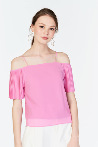 Dulce Pleated Sleeve Top in Barbie Pink