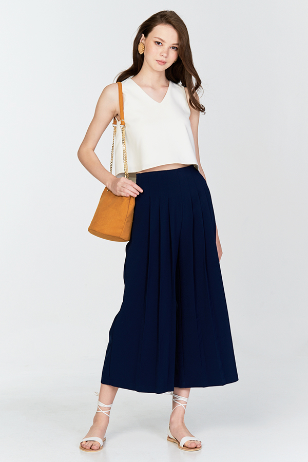 Leigh Pleated Culottes in Navy