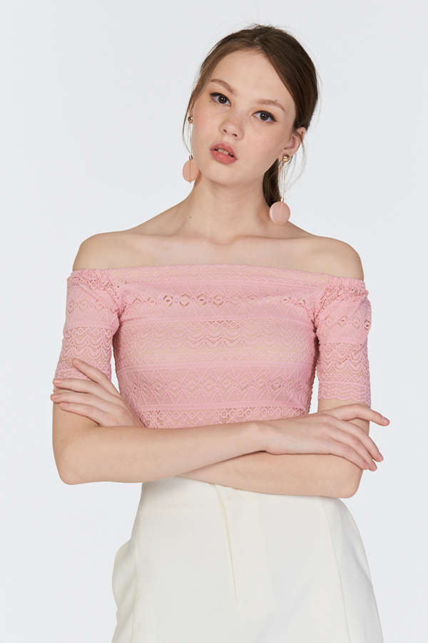 Camilla Lace Crop Top in Pink