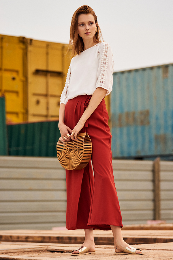 Gayle Overlap Pants in Burnt Orange