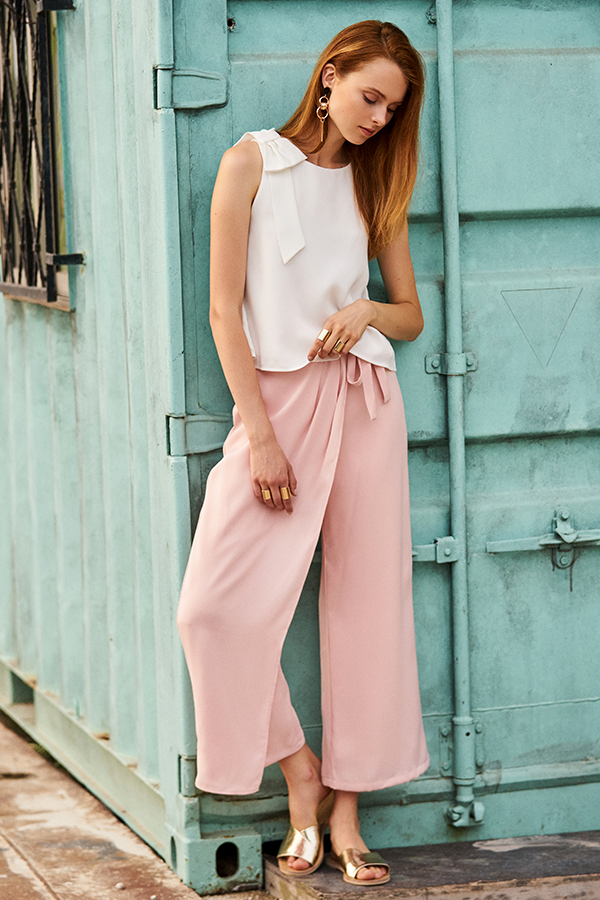 Gayle Overlap Pants in Light Pink