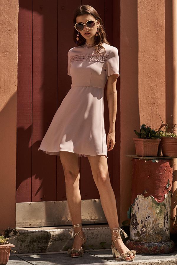 Rein Crochet Dress in Dusk Pink