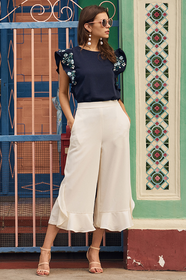 Kyle Ruffles Culottes in White