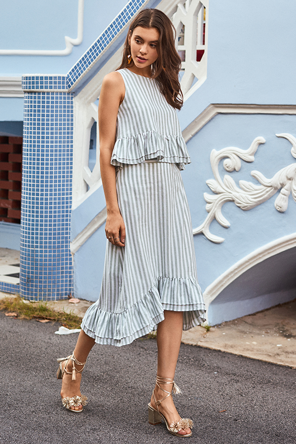 Lendon Stripes Midi Skirt