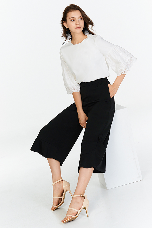 Kyle Ruffles Culottes in Black