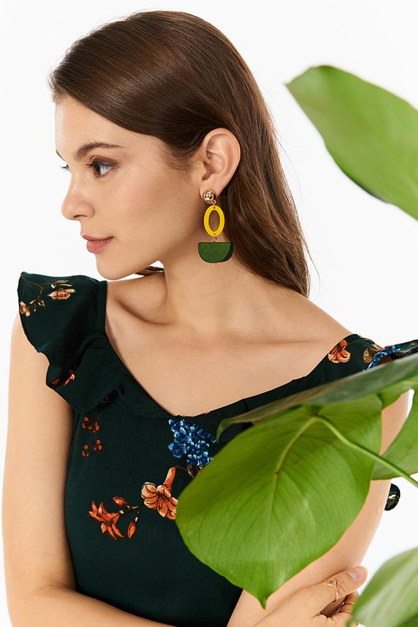 Leia Geometric Earrings in Yellow