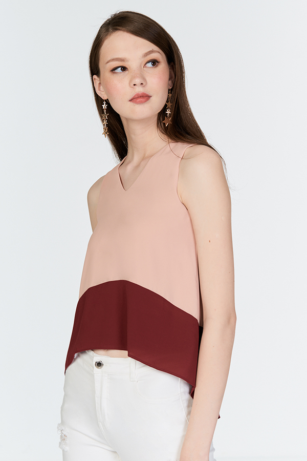 Ain Colourblock Top in Nude Pink