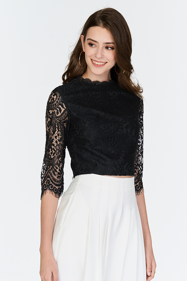 Ameline Lace Top in Black
