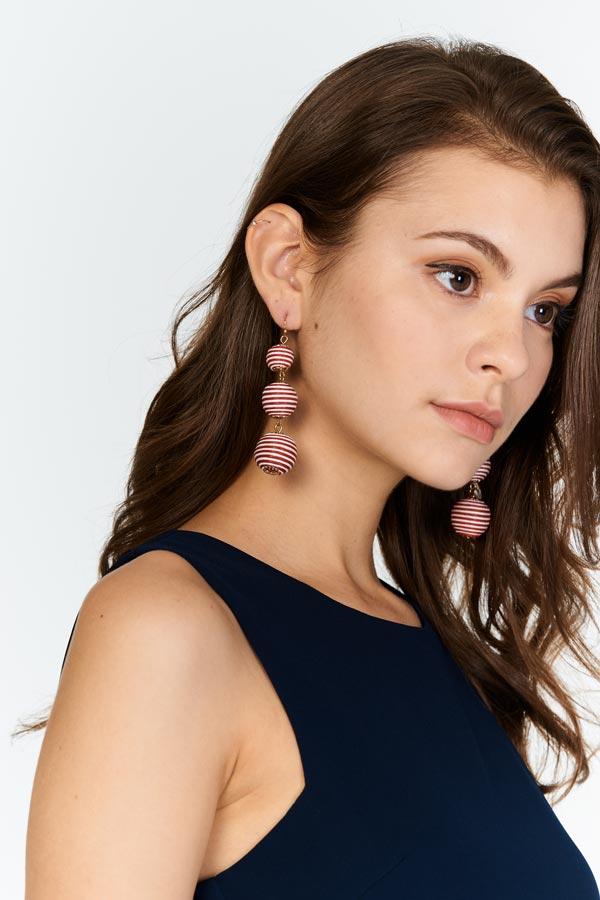 Heidi Pom Pom Earrings in Red Stripes