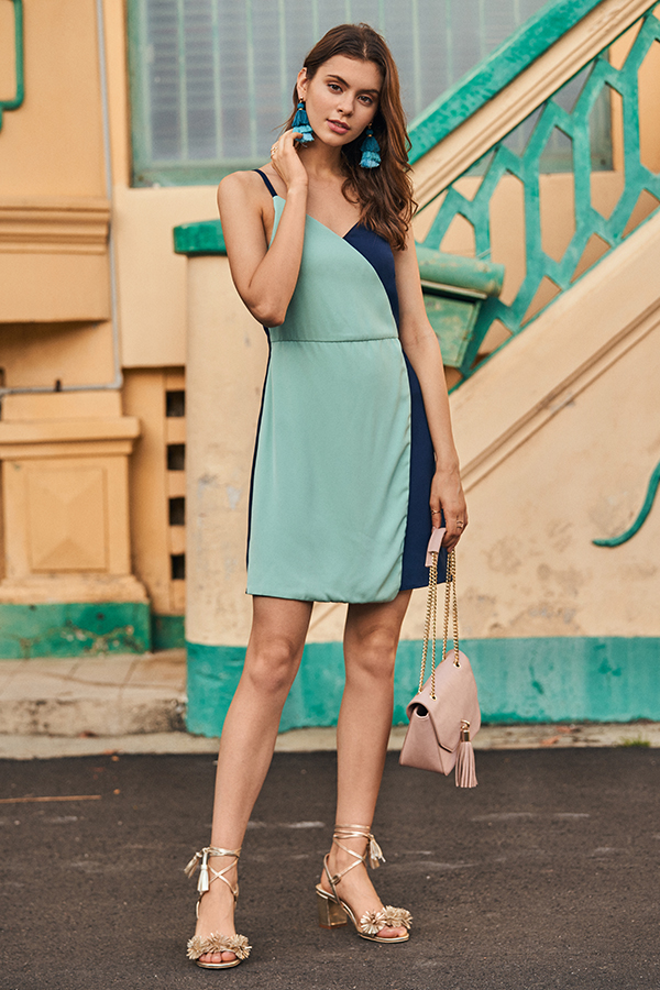 Odile Colourblock Dress in Mint Green/ Navy
