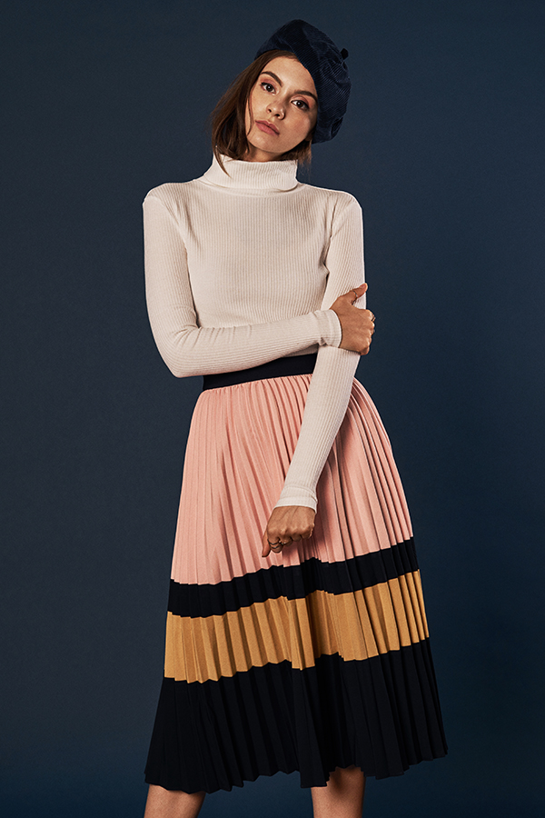 Karson Pleated Midi Skirt