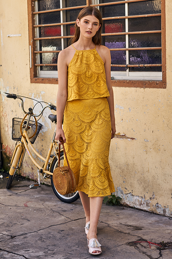 Genevia Lace Skirt in Marigold