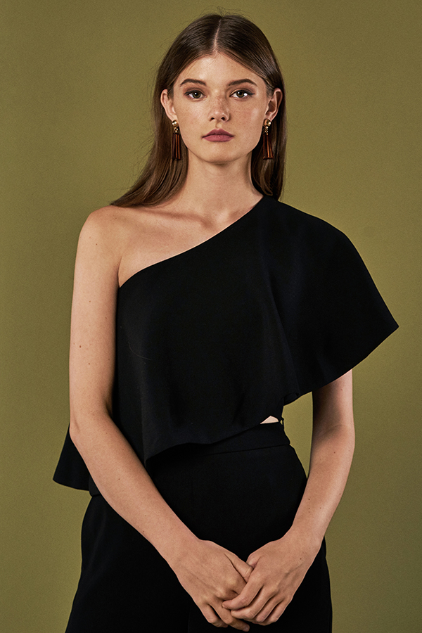 Katrina One Shoulder Top in Black