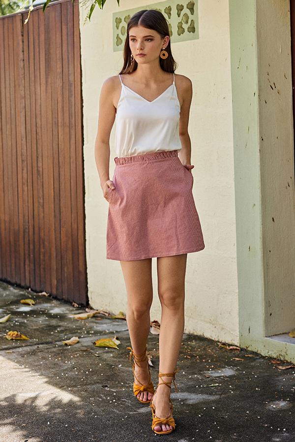 Kelisa Gingham Skirt in Red