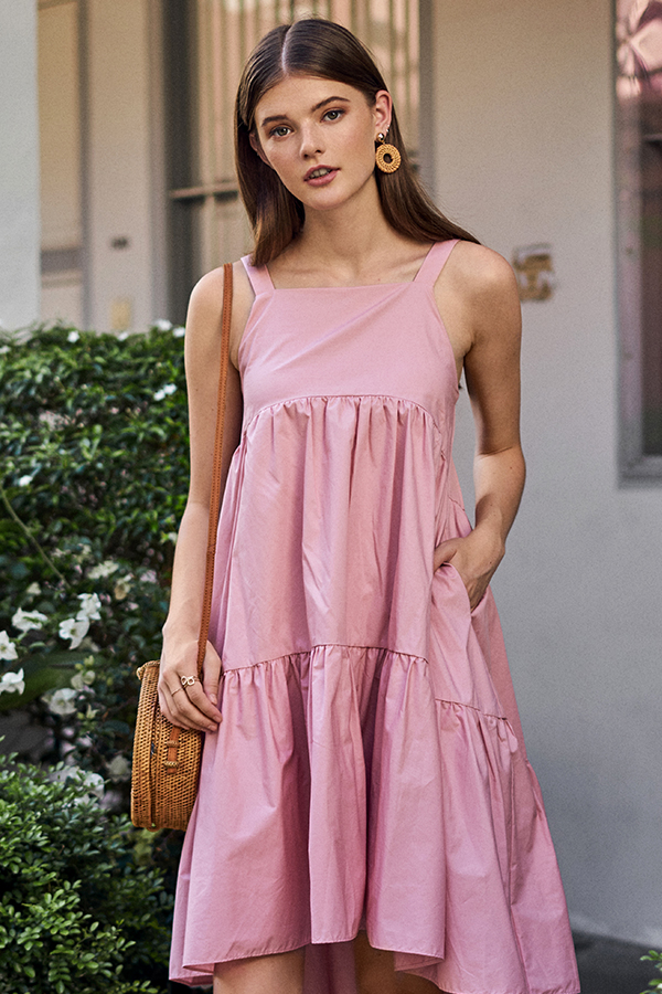 Karra Dipped Hem Midi Dress in Rose Pink