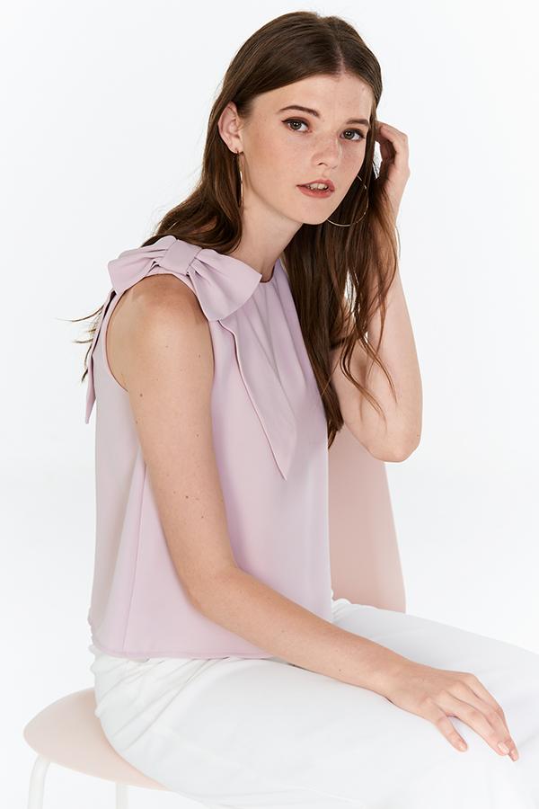 Carlie Ribbon Top in Pink