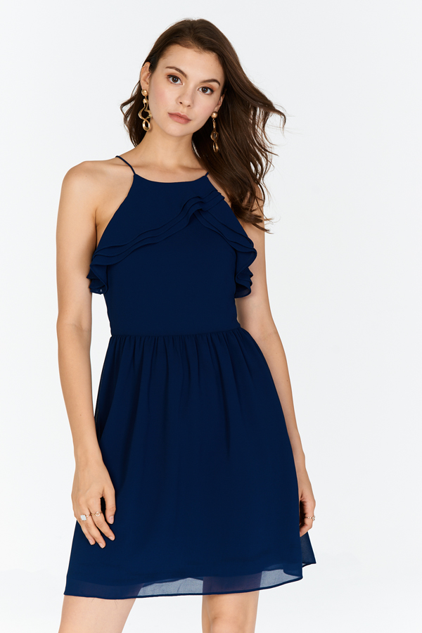 Kyra Ruffles Dress in Navy