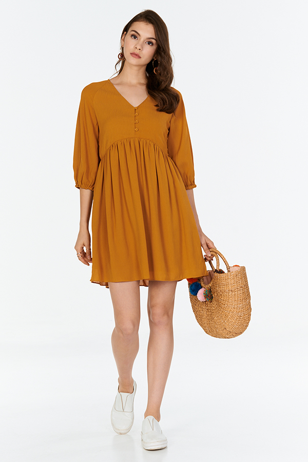 Kendra Babydoll Dress in Mustard