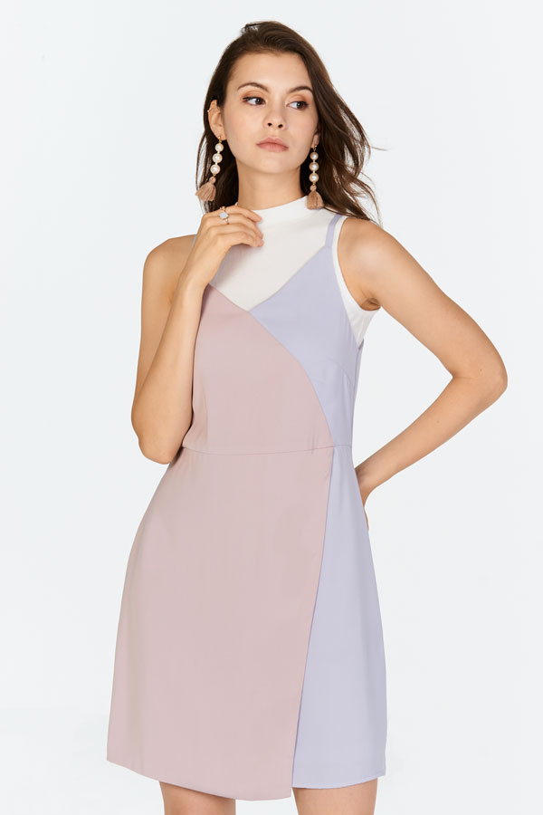 Odile Colourblock Dress in Pink/ Lilac