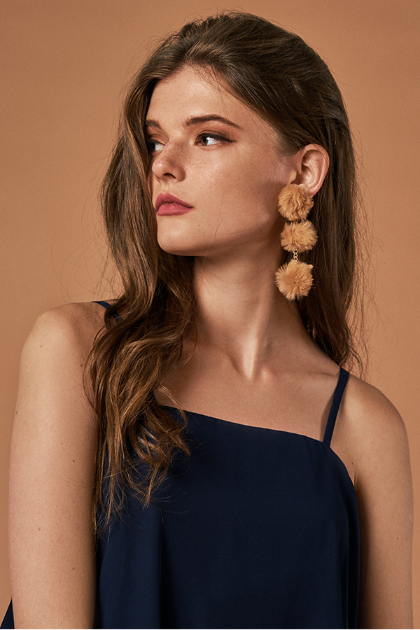 Harlyn Fur Pom Pom Earrings in Camel